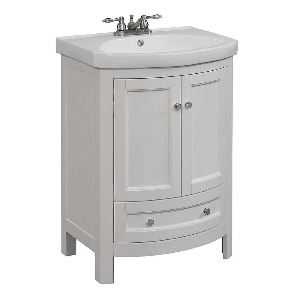 24 in. w x 19 in. d x 34 in. h vanity in white with vitreous china vanity  top in white and white basin