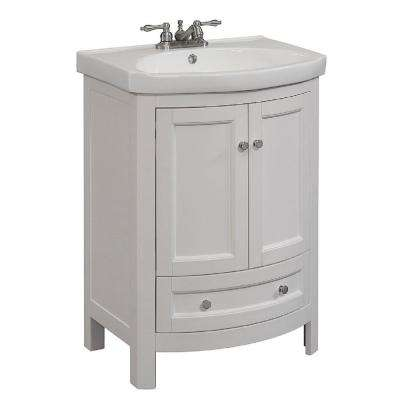 24 In W X 19 In D X 34 In H Vanity In White With Vitreous China Vanity Top In White And White Basin