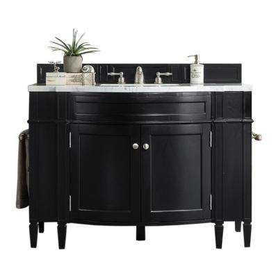 Brittany 46 in. W Single Vanity in Black Onyx with Marble Vanity Top in Carrara White with White Basin