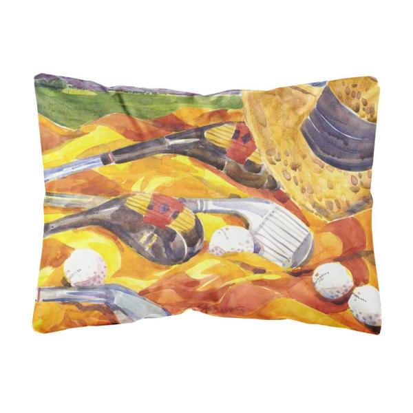12 in. x 16 in. Multi-Color Lumbar Outdoor Throw Pillow with Golf Clubs Golfer Decorative Canvas Fabric Pillow
