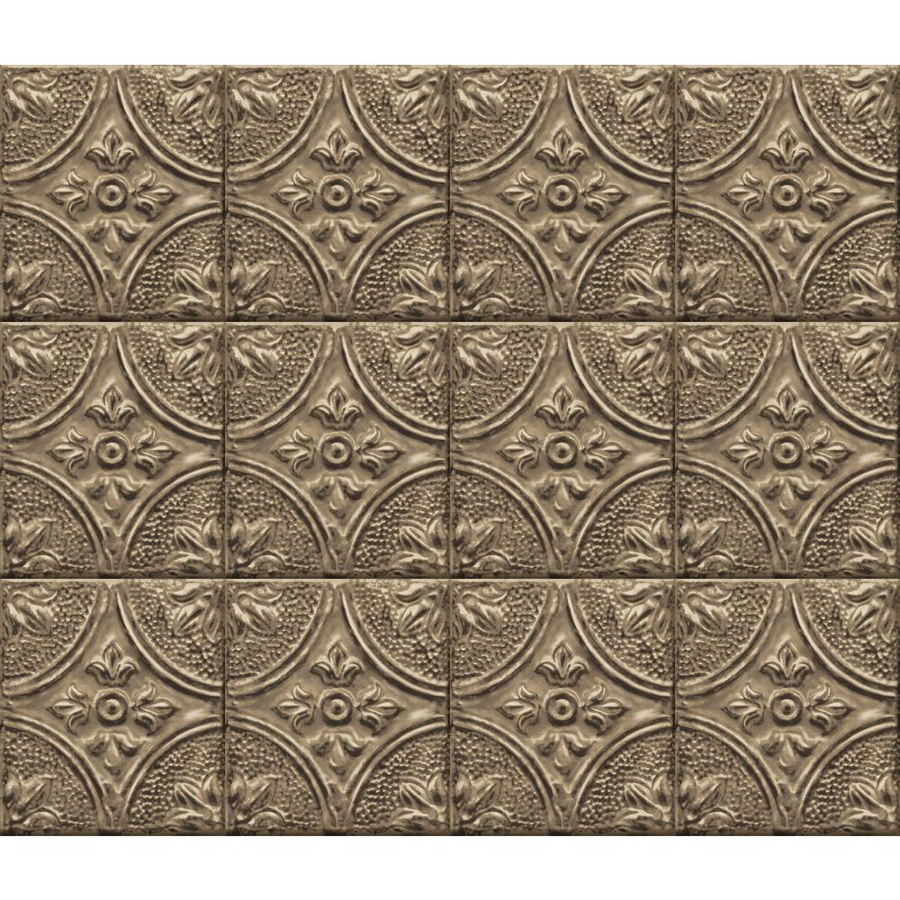 Brewster Bronze Tin Tile Peel and Stick Backsplash Wall Decal
