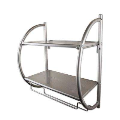 Wall Mount 2-Tier Satin Nickel Shelving Unit