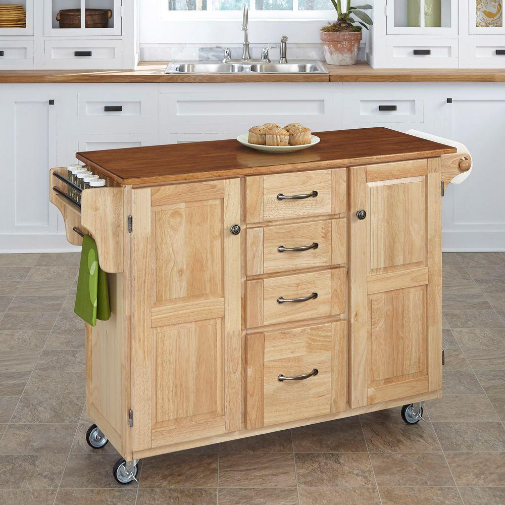 Home Styles Create A Cart Natural Kitchen With Towel Bar
