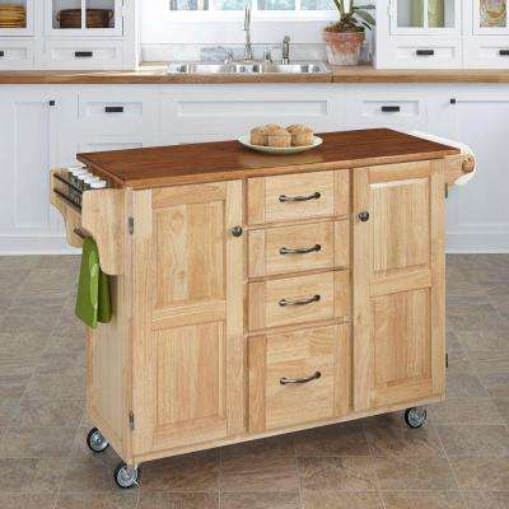 Create-a-Cart Natural Kitchen Cart With Towel Bar