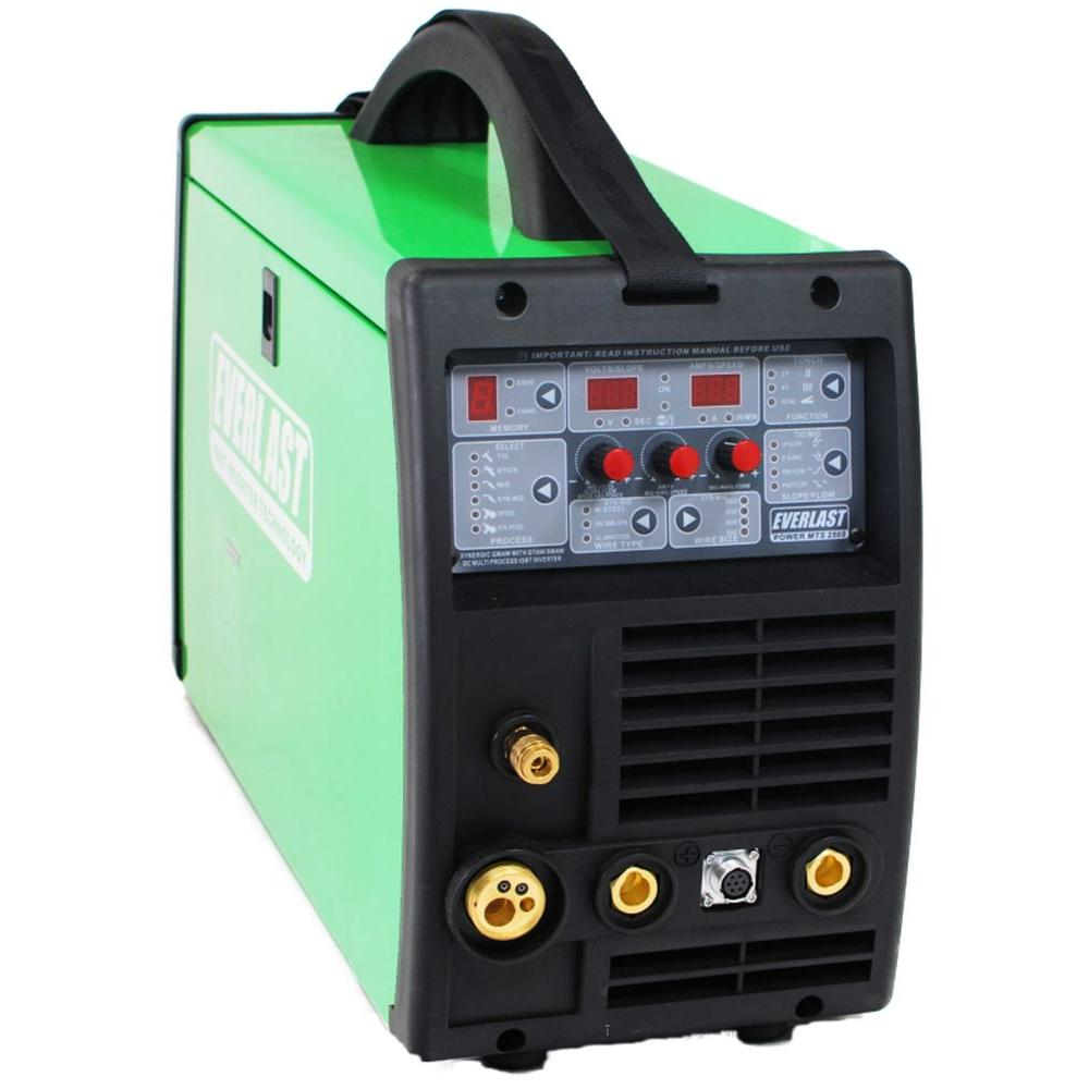 Everlast 250 Amp. PowerMTS 250S IGBT Digital Inverter DC MIG/TIG/Stick Multi-Process Welder, HF/Lift TIG Start, 240V