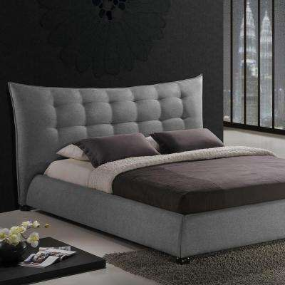 Marguerite Transitional Gray Fabric Upholstered King Size Bed