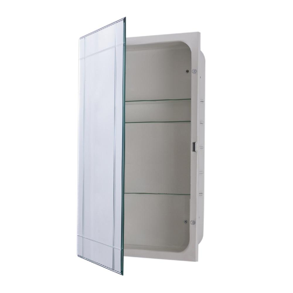 recessed medicine cabinet bellaterra home sumner 16 in x 26 in frameless recessed 29345