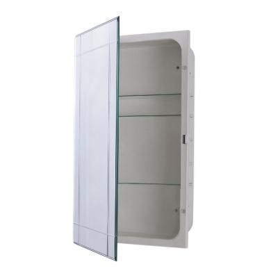 Sumner 16 in. x 26 in. Frameless Recessed or Surface Mount Beveled Mirror Medicine Cabinet