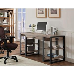 Awesome Walker Edison Furniture Company Urban Blend Ash Grey Desk With  Storage HD60UBS30AG   The Home Depot