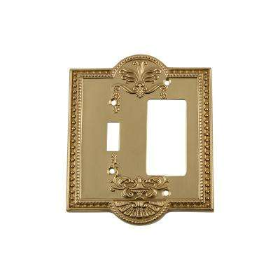 Meadows Switch Plate with Toggle and Rocker in Unlacquered Brass