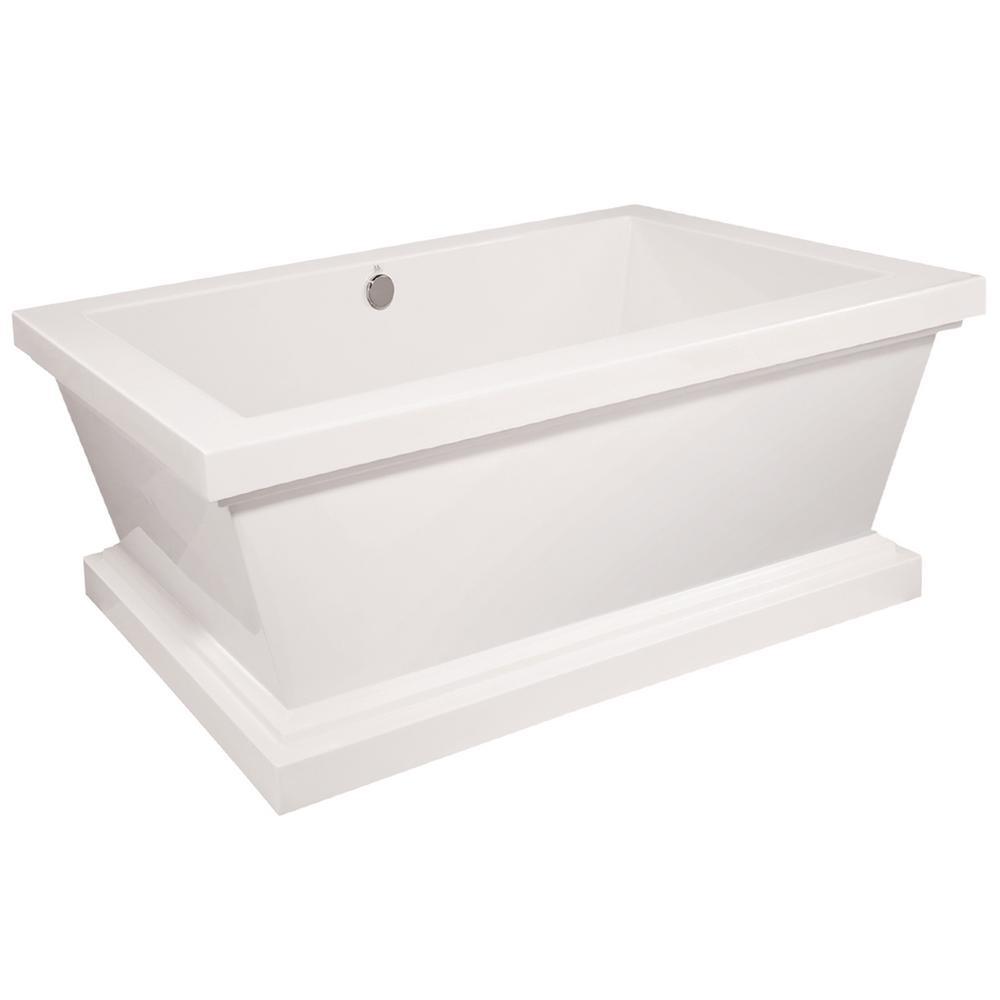 Davinci 70 in. Acrylic Flatbottom Air Bath Bathtub in White