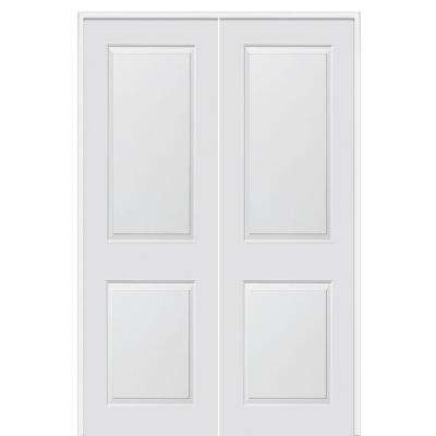 60 in. x 96 in. Smooth Carrara Both Active Solid Core Primed Molded Composite Double Prehung Interior Door