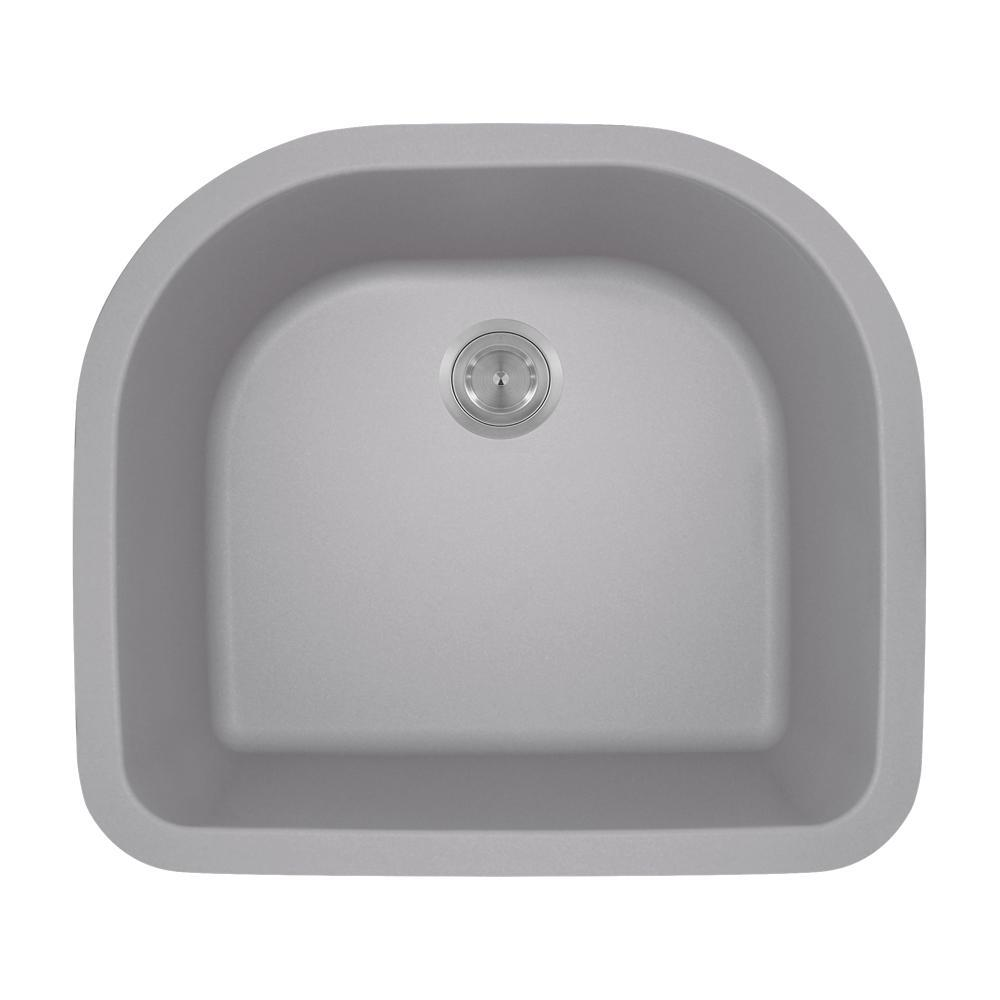 Undermount Granite Composite 24.75 in. 0-Hole Single Bowl...