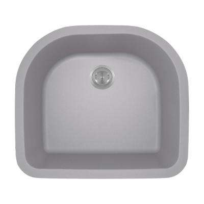 Undermount Granite Composite 24.75 in. 0-Hole Single Bowl Kitchen Sink in Silver