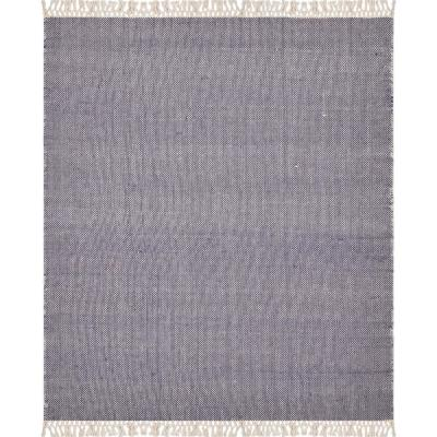 Wescott Gray Navy Solid Woven Cotton Throw Blanket