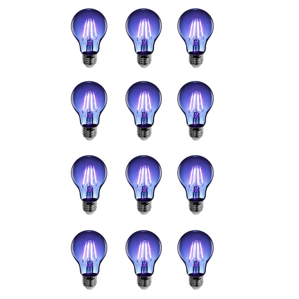25-Watt Equivalent A19 Medium E26 Base Dimmable Filament Blue Colored LED Clear Glass Light Bulb (12-Pack)