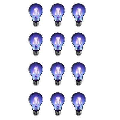 25-Watt Equivalent A19 Medium E26 Base Dimmable Filament Blue Colored LED Clear Glass Light Bulb (12-Pack)