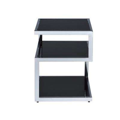 Alyea End Table in Black Glass and Chrome
