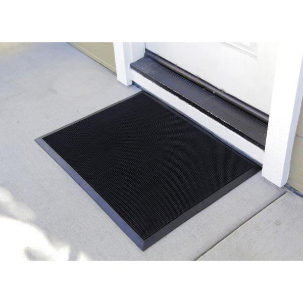 Matsinc Fingertip Black 24 In X 32 In Rubber Door Mat Csft2432bk The Home Depot