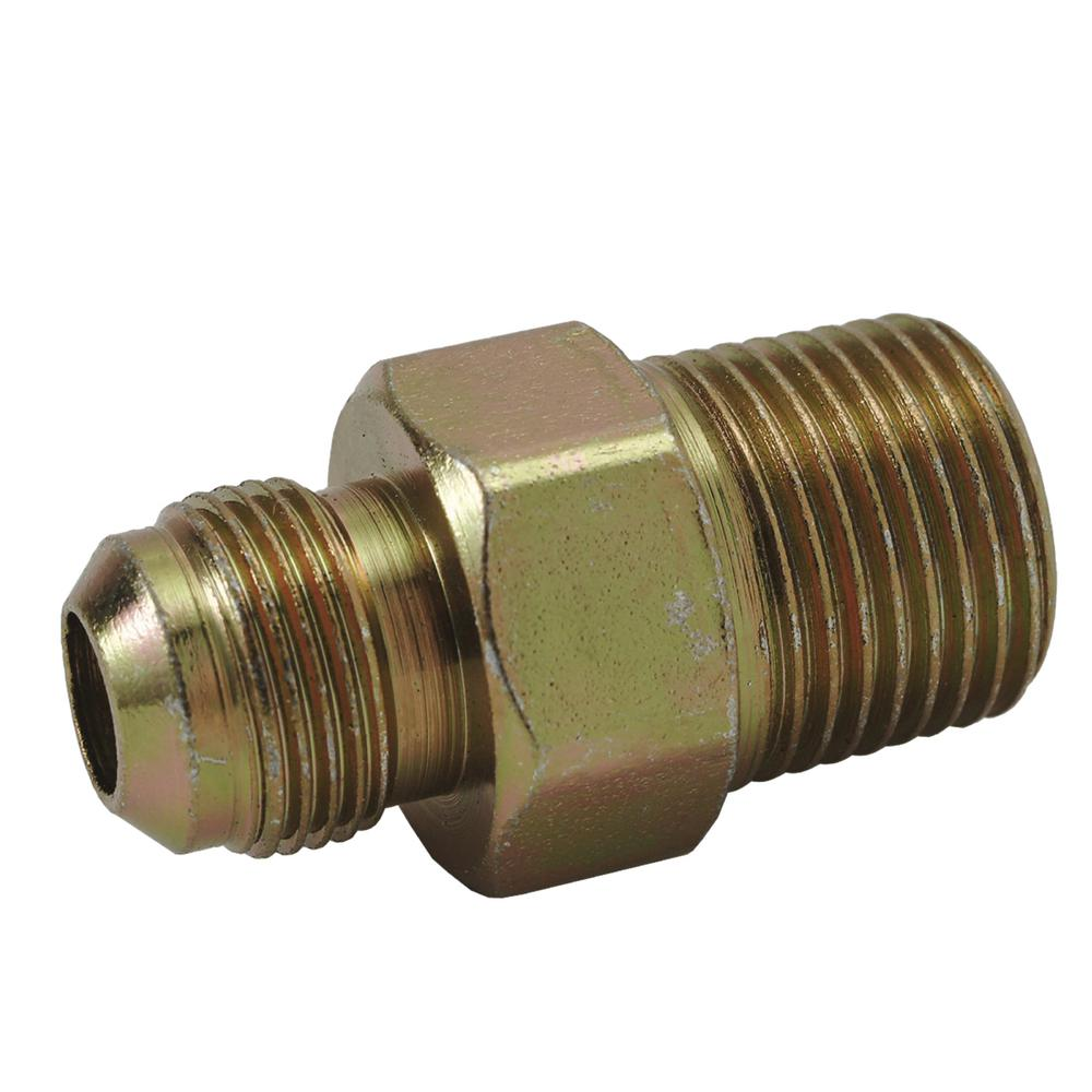 BrassCraft 3/8 in. O.D. Flare (9/16-24 Fine Thread) x 1/2 in. MIP (Tapped 3/8 in. FIP) Gas Connector