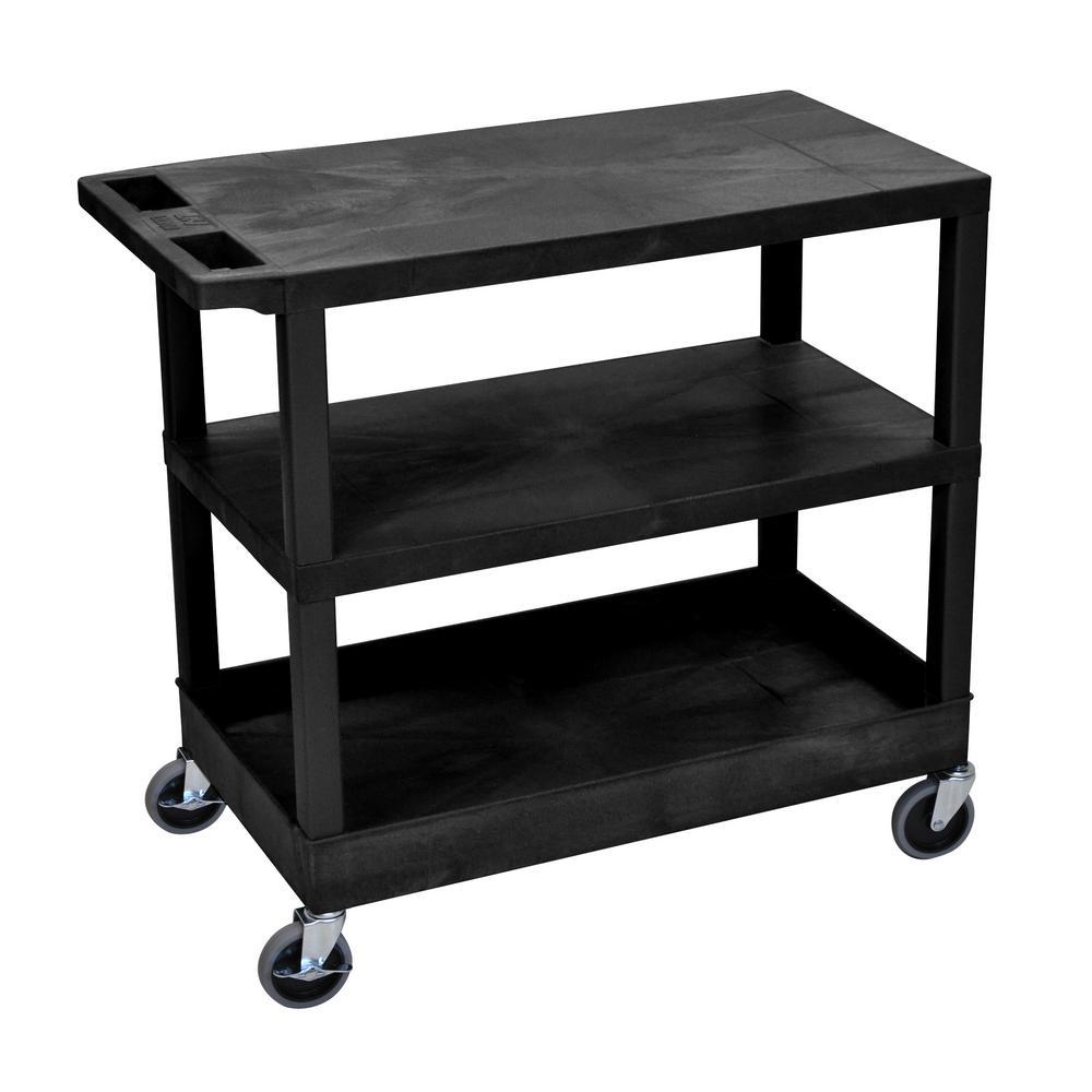 35.25 in. W x 18 in. D x 34.5 in. H 2 Flat and 1 Tub Shelf Utility Cart in Black