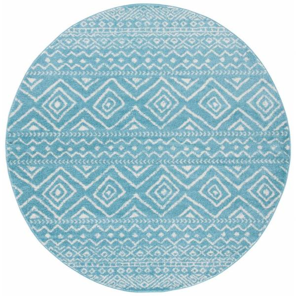 Safavieh Tulum Turquoise Ivory 7 Ft X 7 Ft Round Area Rug Tul267k 7r The Home Depot