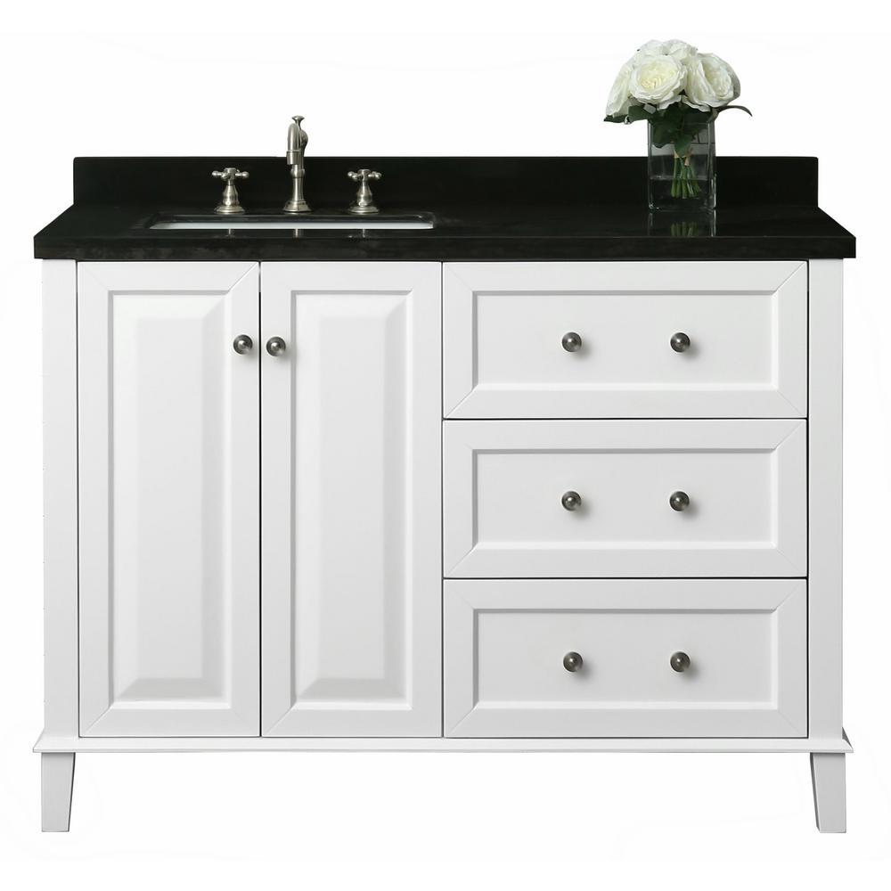 Hannah 48 in. W x 22 in. D Bath Vanity in White with Quartz Vanity Top in Black with White Basin