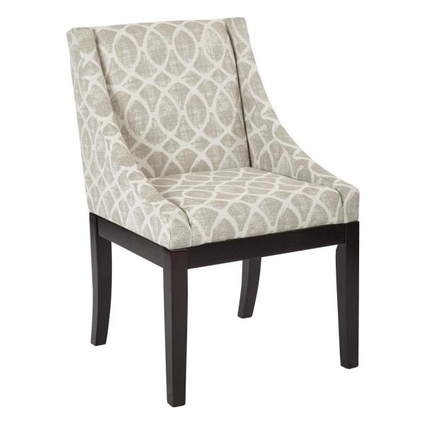 OSP Home Furnishings Monarch Easy-Care Wingback Chair in Mist Geo Sand Fabric with Solid Wood Legs