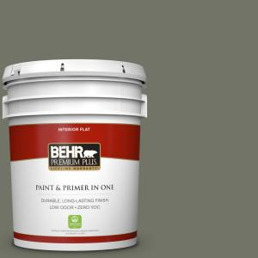 BEHR Premium Plus 5 gal. #BXC-44 Pepper Mill Zero VOC Flat Interior Paint by
