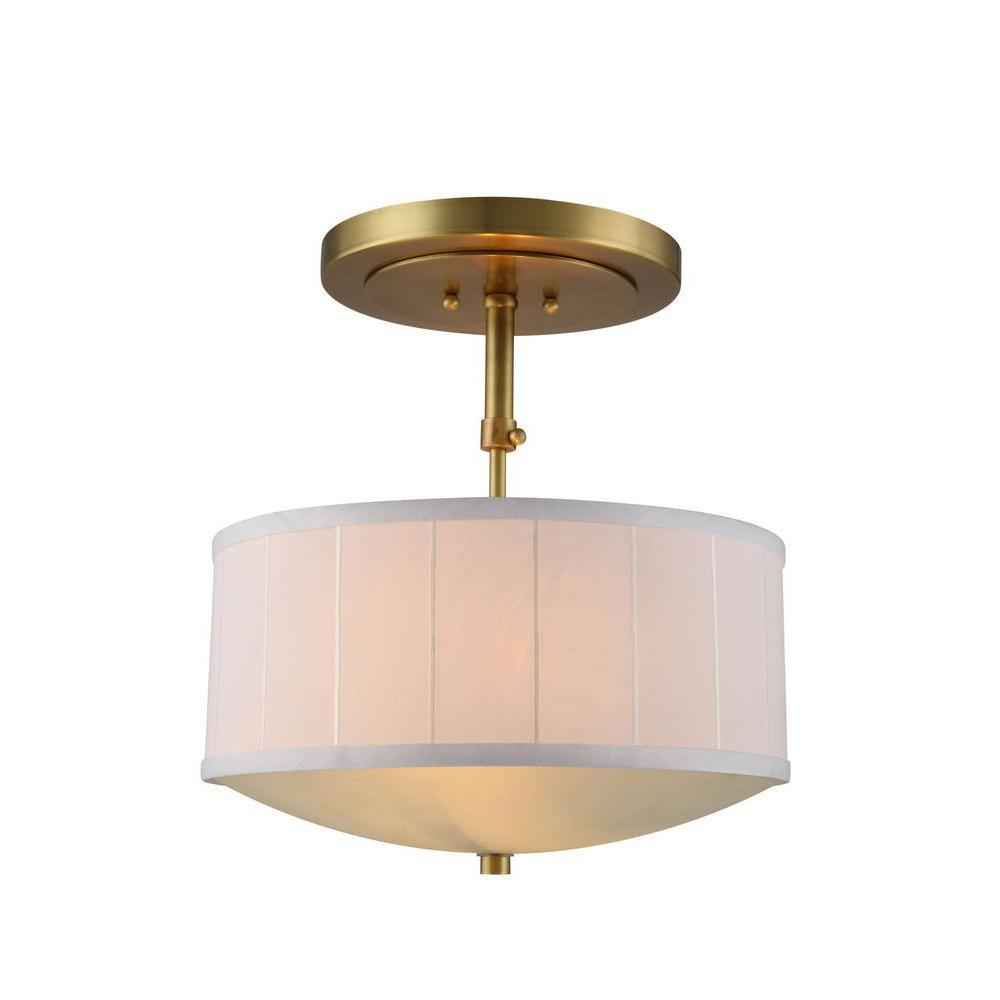 Elegant Lighting Manhattan 2-Light Burnished Brass Pendant Lamp