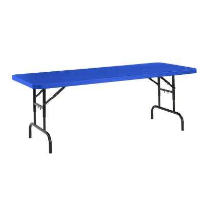 72 in. Blue Plastic Adjustable Height Folding High Top Table