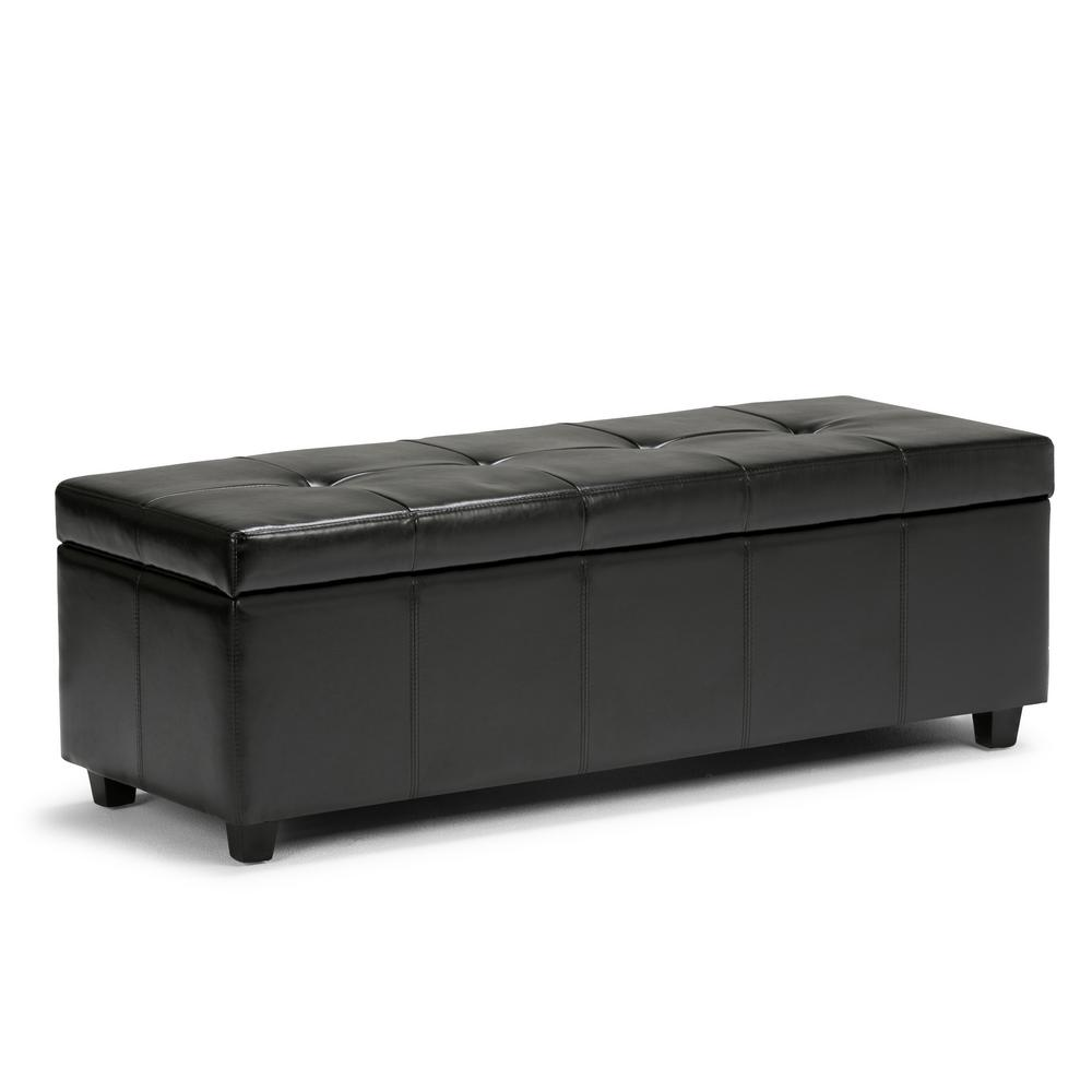 simpli home castleford midnight black large storage ottoman bench
