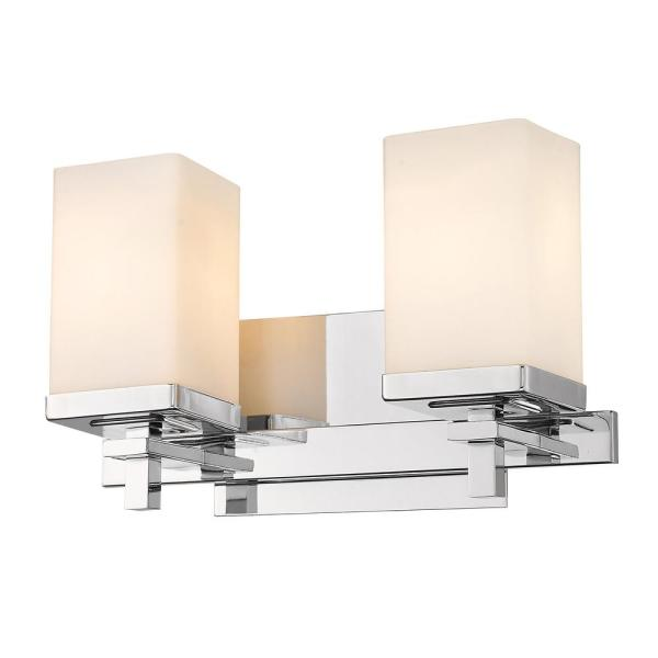 Maddox 2-Light Chrome Vanity Light with Opal Shade
