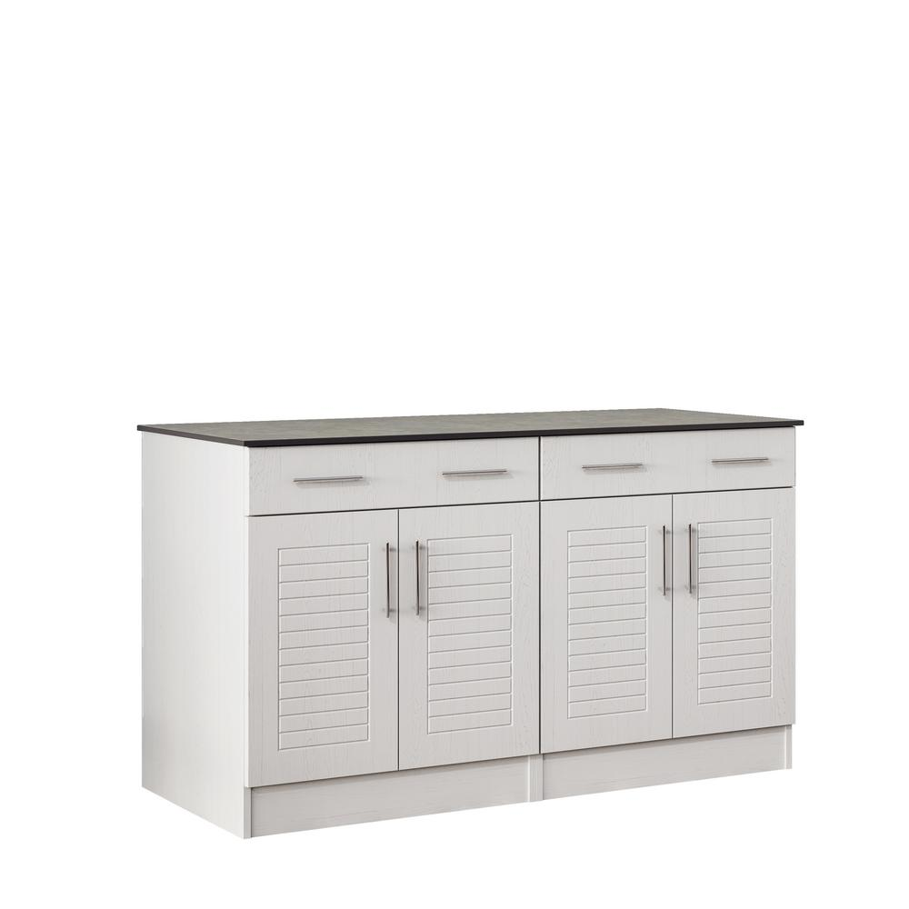 WeatherStrong Key West 59.5 in. Outdoor Cabinets with Countertop 4-Door and 2-Drawer in White