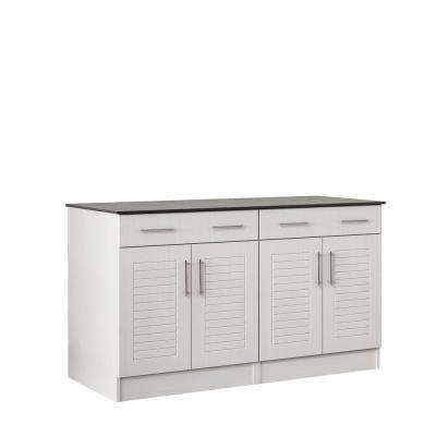 Key West 59.5 in. Outdoor Cabinets with Countertop 4-Door and 2-Drawer in White