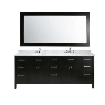 London 84 in. W x 22 in. D x 35 in. H Vanity in Espresso with Marble Vanity Top in Carrara White, Basin and Mirror