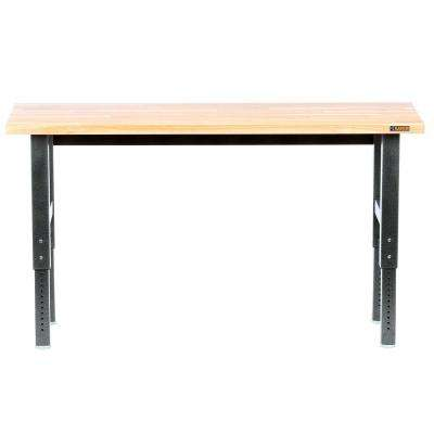 Premier Series 42 in. H x 72 in. W x 25 in. D Bamboo Top Adjustable Height Workbench in Hammered Granite