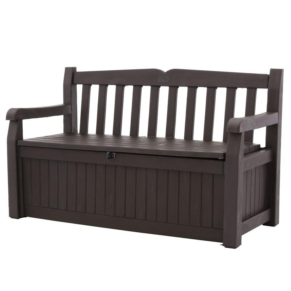 Keter eden 70 gal outdoor garden patio deck box storage bench in brown 213126 the home depot Storage bench outdoor