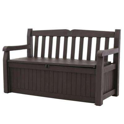 Eden 70 Gal. Outdoor Garden Patio Deck Box Storage Bench in Brown