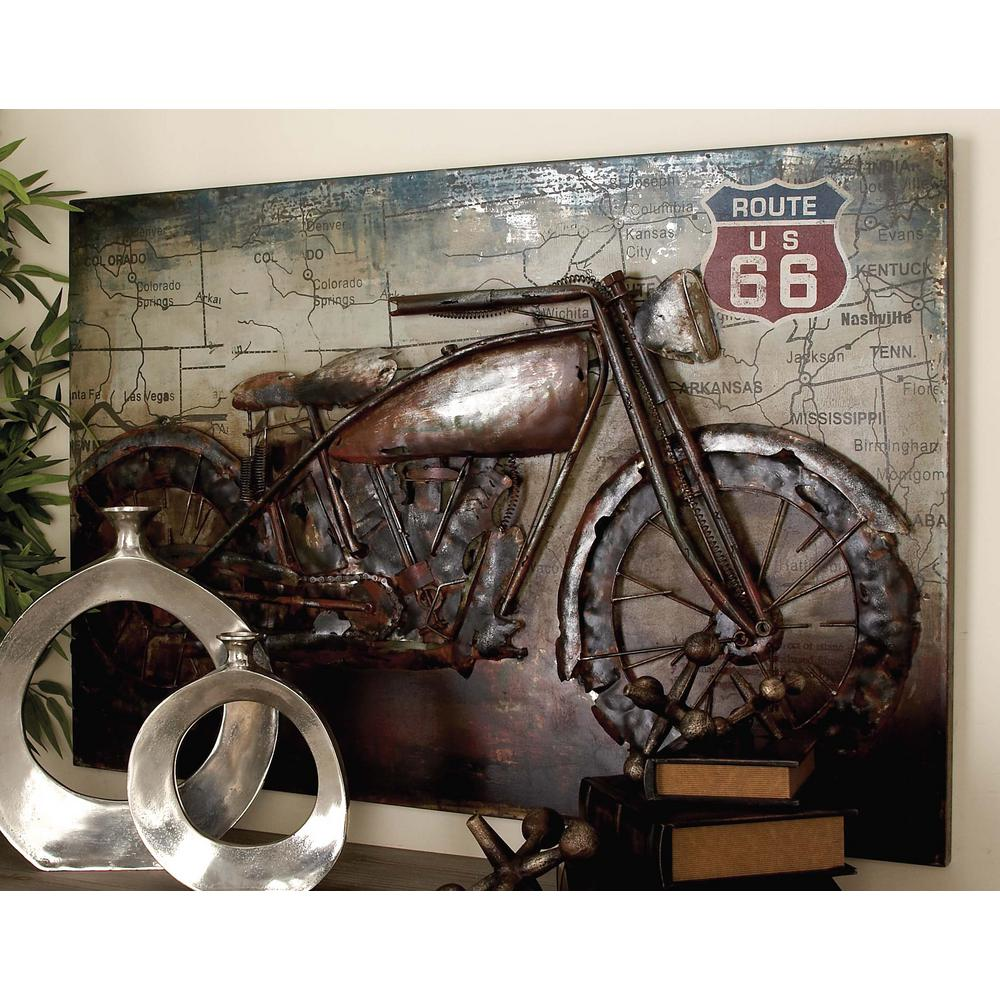 32 in. x 47 in. Vintage 3D Iron Motorcycle and Map