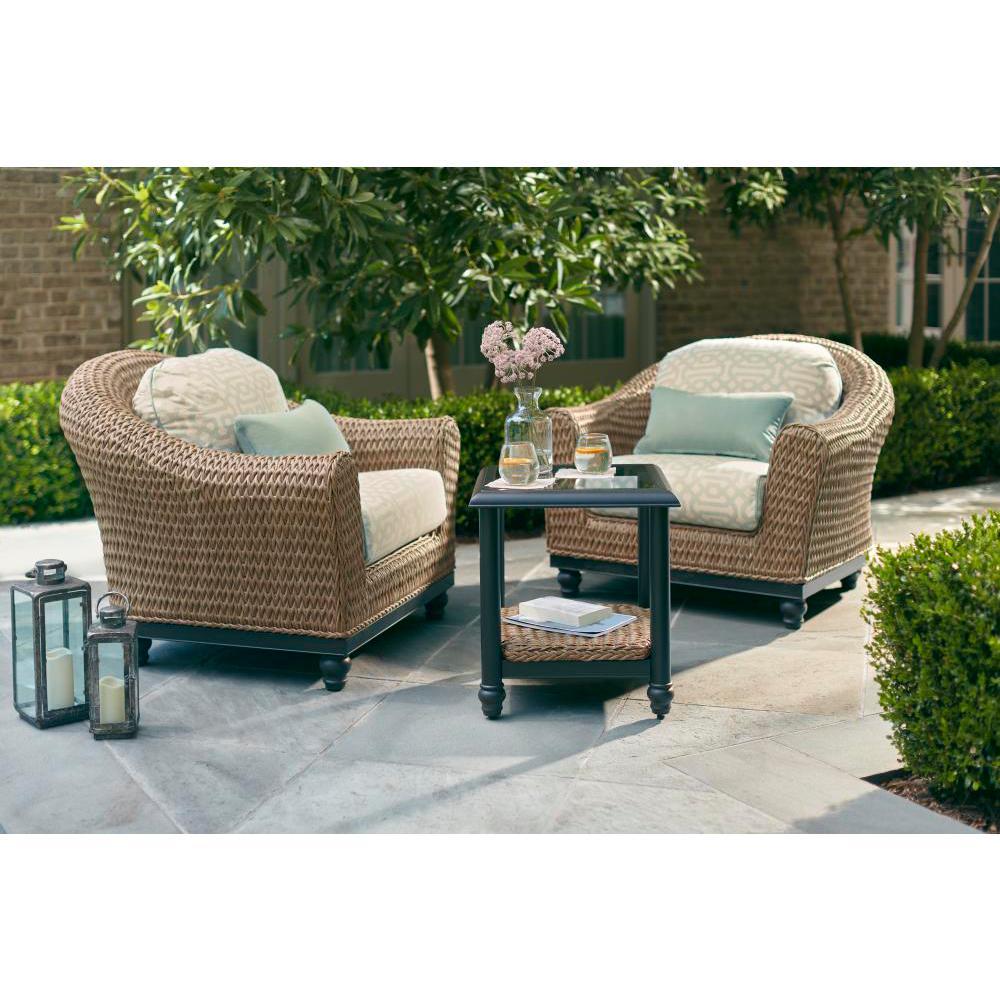 Camden Light Brown 3-Piece Wicker Outdoor Chat Set with Sunbrella Fretwork Mist Cushions