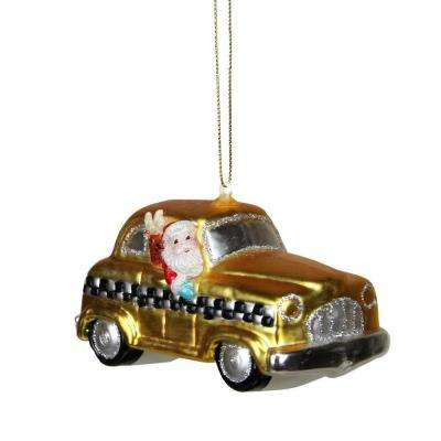 Glass Santa in Yellow Silver and Black Checkered Taxi Cab Christmas Ornament