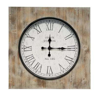 Million Brown Square Wood Clock