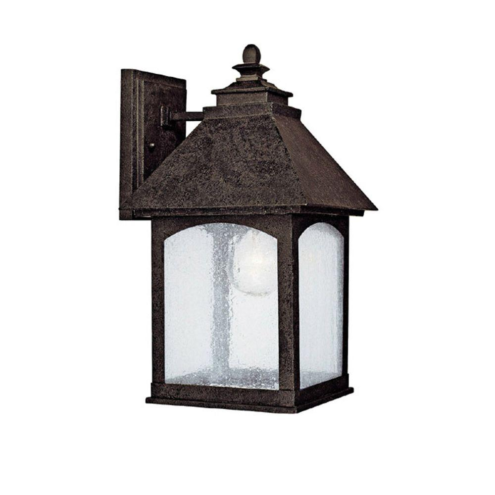 Filament Design 1-Light Outdoor Rustic Iron Light Fixture with Seeded Glass-DISCONTINUED