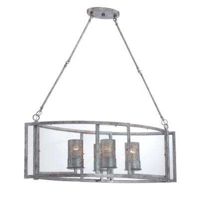 Jackson 4-Light Antique Silver Linear Pendant with Arched Windowpane Glass