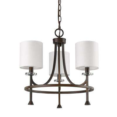 Kara 3-Light Indoor Chandelier with Shades and Crystal Bobeches in Oil Rubbed Bronze