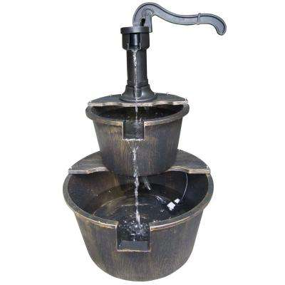 27 in. Bronze 2-Tier Barrel and Pump Fountain