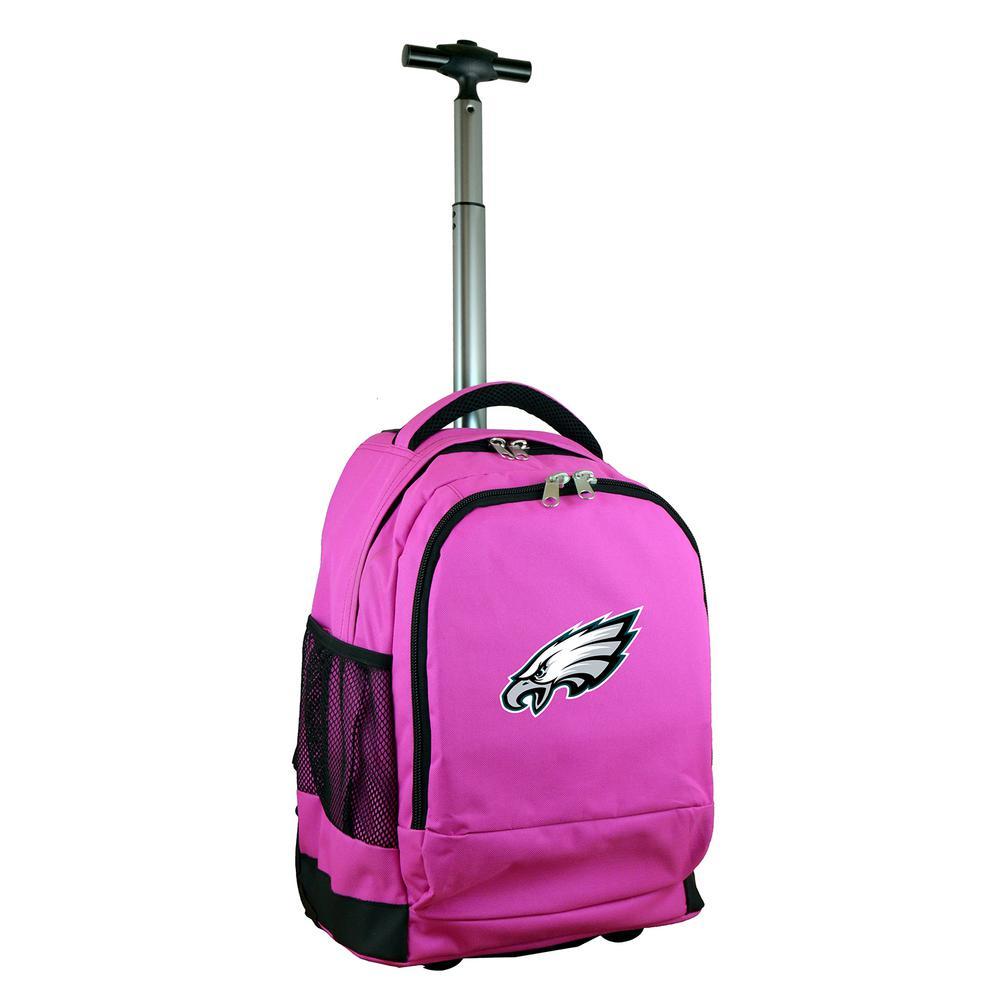 Denco NFL Philadelphia Eagles 19 in. Pink Wheeled Premium Backpack