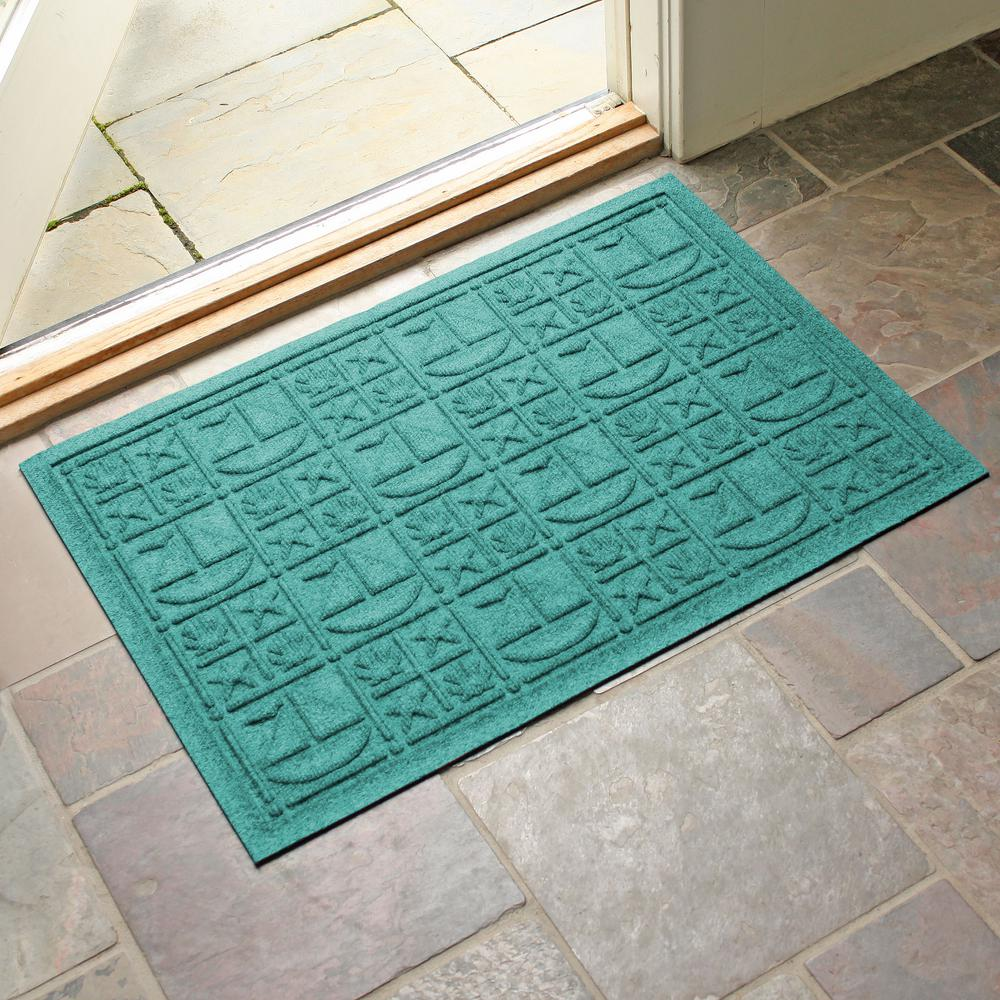 Aqua Shield Aquamarine 24 in. x 36 in. Nautical Polypropylene Door Mat