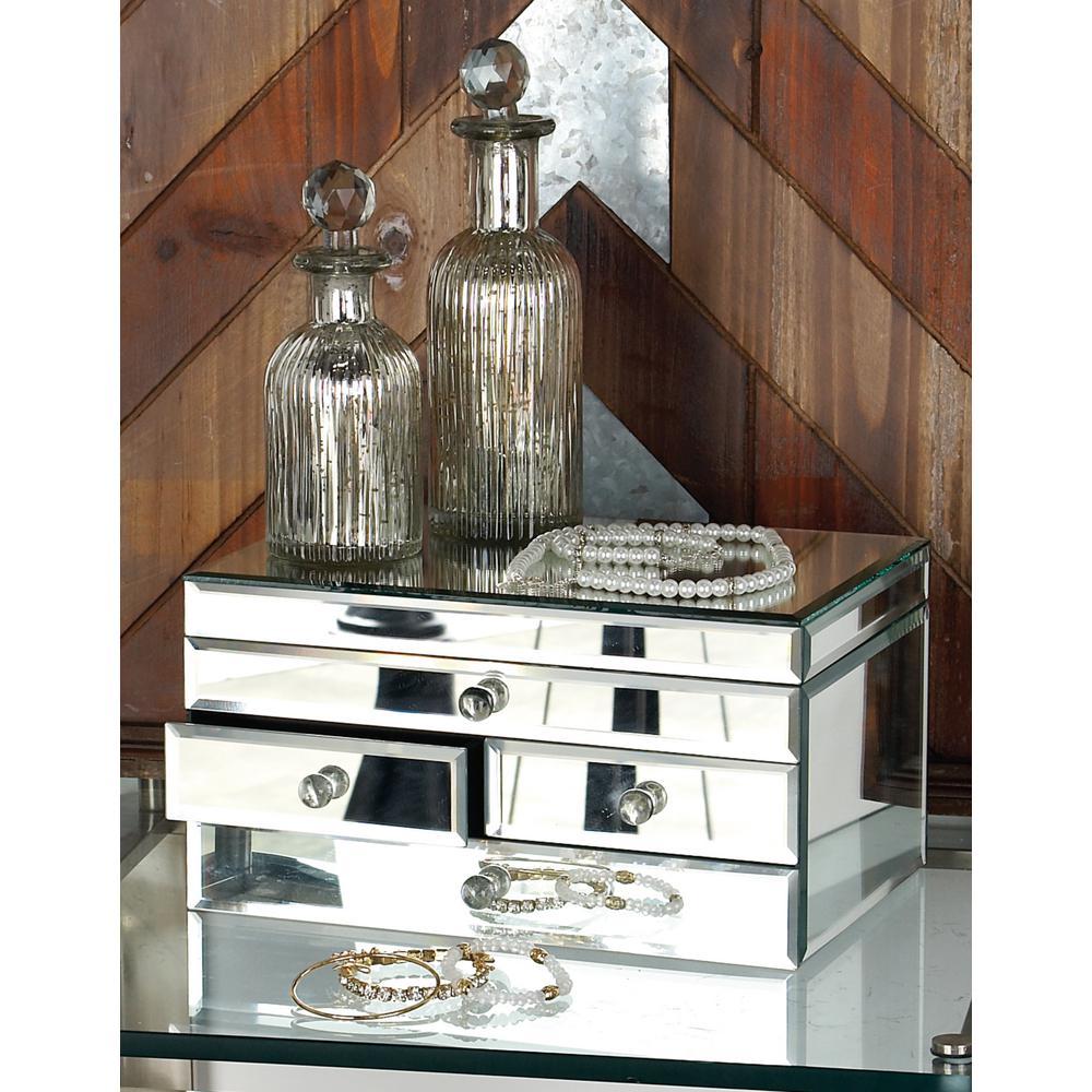 11 in x 6 in Modern 4Drawer Rectangular Mirrored Jewelry Box